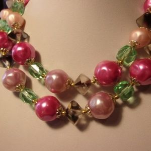 Vintage Tara Pink Green Chunky Choker Necklace